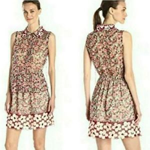 Anna Sui Sangria silk embroidered floral dress